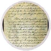 Emancipation Proc., P. 1 Round Beach Towel