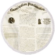 Emancipation Proclamation Round Beach Towel by Photo Researchers