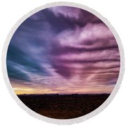 Embers Of A Fading Sunset Round Beach Towel