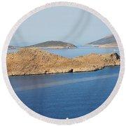 Emborio Harbour On Halki Island Round Beach Towel