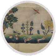 Embroidered Petticoat Border Round Beach Towel