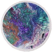 Emerald And Amethyst. Abstract Fluid Acrylic Painting Round Beach Towel