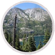 Emerald Bay With Mountain Round Beach Towel