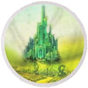 Emerald City Round Beach Towel by Mo T