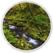 Emerald Falls And Creek In Autumn  Round Beach Towel