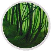 Emerald Forest. Round Beach Towel