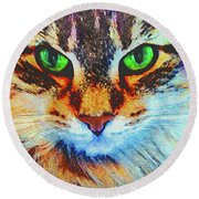 Emerald Gaze Round Beach Towel