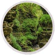 Emerald Gorge Round Beach Towel