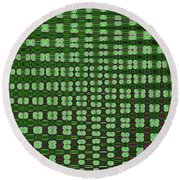 Emerald Green And Oak Stump Abstract Round Beach Towel