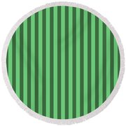 Emerald Green Striped Pattern Design Round Beach Towel