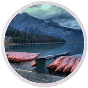 Emerald Lake Canoes Round Beach Towel