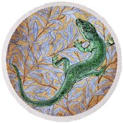 Emerald Lizard Round Beach Towel