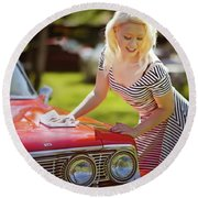 Emily #4 Royal Holden Round Beach Towel