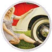 Emily #5 Royal Holden Round Beach Towel