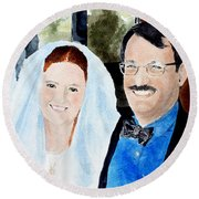 Emily And Jason Round Beach Towel