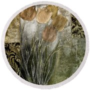 Emily Damask Tulips II Round Beach Towel