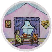 Emily's Tea Party Round Beach Towel