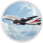 Emirates A380-800 A6-eer Round Beach Towel