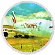 Emirates A380 Airbus Pop Art Round Beach Towel