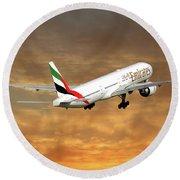Emirates Boeing 777-36n 2 Round Beach Towel