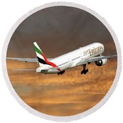 Emirates Boeing 777-36n 3 Round Beach Towel
