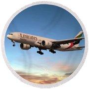 Emirates Boeing 777f A6-efm Round Beach Towel