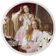 Emma And Federica Bankes Of Soughton Hall  Round Beach Towel