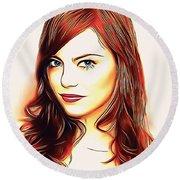 Emma Stone Portrait Colored Pencil Round Beach Towel