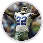 Emmitt Smith, Number 22, Running Back, Dallas Cowboys Round Beach Towel