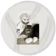 Emmy And Mrs Beasley Round Beach Towel