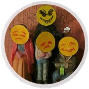 Emoji Family Victims Of Substance Abuse Round Beach Towel