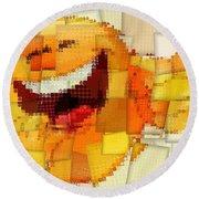 Emoticon Mosaic Cubism Round Beach Towel