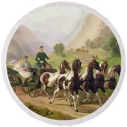 Emperor Franz Joseph I Of Austria Being Driven In His Carriage With His Wife Elizabeth Of Bavaria I Round Beach Towel