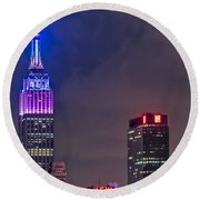 Empire State Building Esb At Night Round Beach Towel