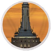 Empire State Building Esb Broadcasting Nyc Round Beach Towel