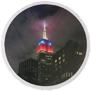 Empire State Building In The Fog Round Beach Towel