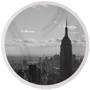 Empire State Building Panorama Round Beach Towel