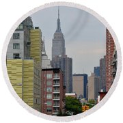 Empire State Empty Street Round Beach Towel