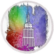 Empire State Of Mind Cool Rainbow 3 Dimensional Round Beach Towel