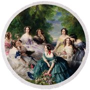 Empress Eugenie Surrounded By Her Ladies In Waiting Round Beach Towel by Franz Xaver Winterhalter