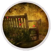 Empty Bench And Poppies Round Beach Towel by Svetlana Sewell