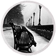 Empty Benches In The Snow Round Beach Towel