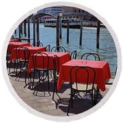 Empty Canal Side Tables Awaiting Hungry Customers In Venice, Italy  Round Beach Towel