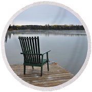 Empty Chair On Autumn Morning Round Beach Towel