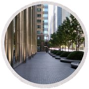 Empty Chicago Sidewalk Round Beach Towel