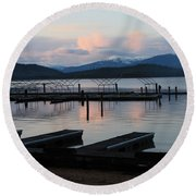 Empty Docks On Priest Lake Round Beach Towel