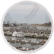 Empty Harbor Round Beach Towel