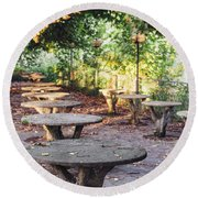 Empty Picnic Tables In The Early Fall With Fallen Leaves Round Beach Towel