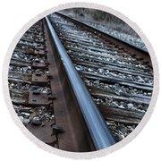 Empty Railroad Tracks Round Beach Towel