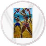 En Luquillo Se Goza Round Beach Towel by Oscar Ortiz